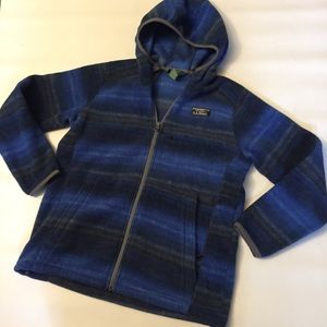 L.L. Bean boy's blue striped fleece jacket 14-16